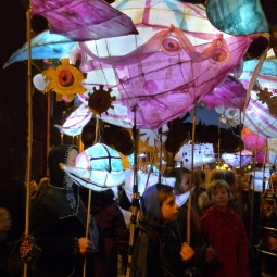 Processional Zeppelins on backpack, Lantern Procession, Victorian Night, Weymouth
